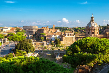 Rome Skyline with Colosseum and Roman Forum, Italy Fototapete