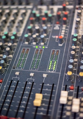Close up of music mixer equalizer console for mixer control sound device.