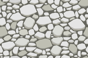Grey stone wall texture. Vector seamless background.