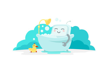 Emoji sticker robot is taking bathin in the bathroom. Very cute picture rest, exfoliation foam shampoo. Break for rest. Flat color vector illustration