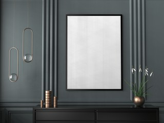 Mock up frame in hipster interior background. 3D illustrating.