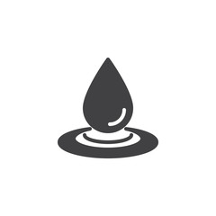 Water drop and spill vector icon. filled flat sign for mobile concept and web design. Water splash simple solid icon. Symbol, logo illustration. Pixel perfect vector graphics
