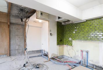 マンション・スケルトンリフォーム・実例素材・解体済み・トイレ・水回り