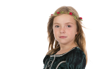 Close up of a pretty medieval princess on a white background.