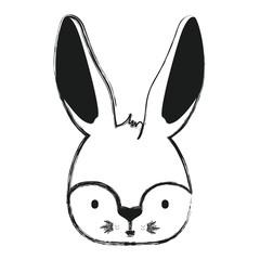 cute rabbit head easter celebration