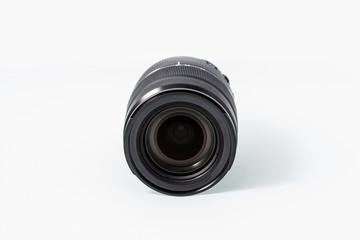 Black camera lens isolated on white background, zoom lens