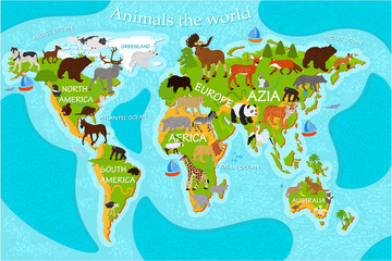 Map of the world's animals with the names of the continents