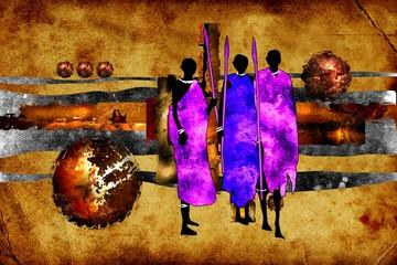 african ethnic retro vintage illustration