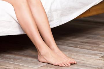 Closeup shot of beautiful naked female legs