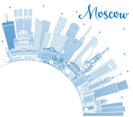 Outline Moscow Russia Skyline with Blue Buildings and Copy Space.