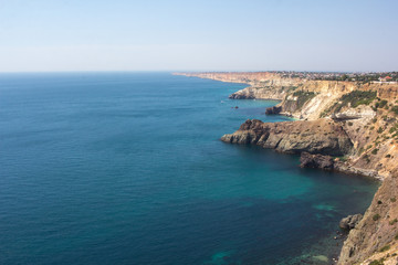 Magnificent view of the Crimean coast on a clear summer day.