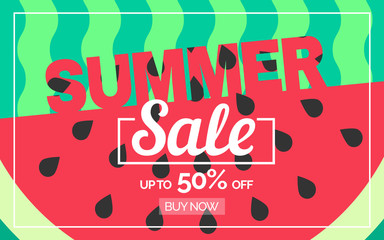 summer sale horizontal banner design with watermelon