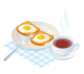 Flat isometric illustration of dish with scrambled eggs on a toasts. The fried chicken eggs on a crisp bread on the plate, a cup of hot black tea. Vector food elements isolated on white background.