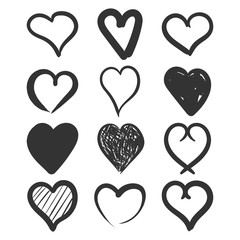 Set of the hand drawn hearts vector icon. Love sketch doodle heart illustration. Handdrawn valentine concept.