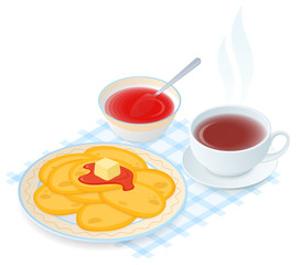 Flat isometric illustration of plate with pancakes, jam, teacup. The dish with fried cakes, a cup of hot black tea, sweet syrup. Vector food, breakfast elements isolated on white background.