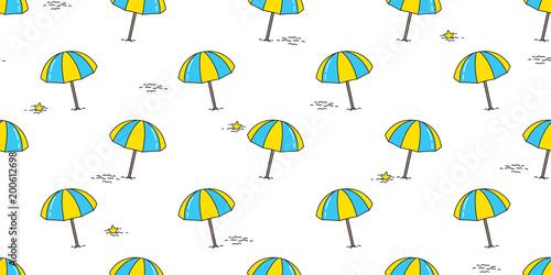 Beach Seamless Pattern Umbrella Isolated Summer Tropical Sea Ocean Vector Wallpaper Repeat Background Illustration Doodle Cartoon
