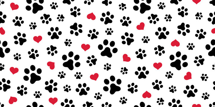 Dog Paw Seamless pattern vector heart isolated scarf valentine wallpaper background