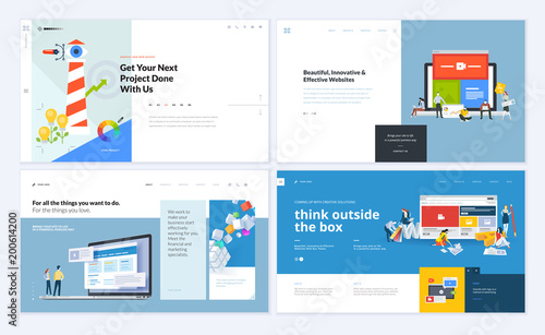 Set of creative website template designs. Vector illustration ...