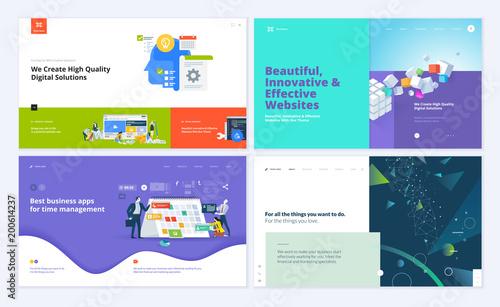Set of creative website template designs. Vector illustration ...