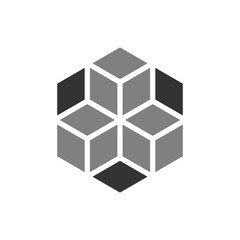 Blockchain technology vector icon in flat style. Cryptography cube block illustration. Blockchain algorithm concept.