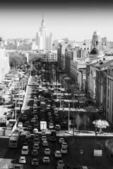 Moskwa widok od Lubyanka kwadrata ruchu drogowego dżemu tła - 200614825
