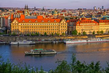 Prague embankment, Czech Republic, city architecture and Vltava river