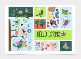 Wall Mural - Flat Spring Time Romantic Infographic Template