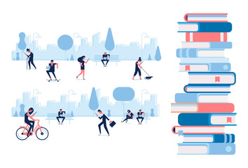 Different people walking in the park and reading books. Flat vector illustration.Print