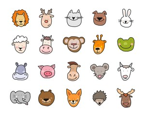 Cartoon vector flat illustration of cute animals faces for baby card and invitation
