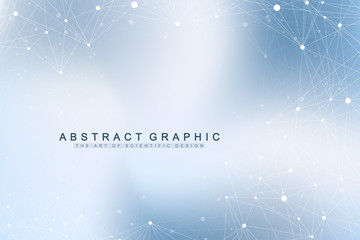 Geometric graphic background molecule and communication. Big data complex with compounds. Perspective backdrop. Minimal array. Digital data visualization. Scientific cybernetic vector illustration.