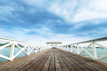 Wood waterfront pavilion at Koh si chang island,Chon Buri, Thailand