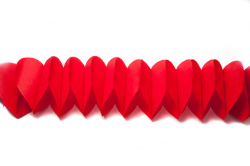 Valentines paper hearts isolated on the white