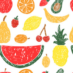 Seamless pattern of fruits and berries.
