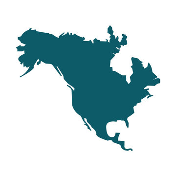 North America map vector icon. Flat design blue color
