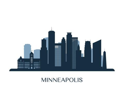 Minneapolis skyline, monochrome silhouette. Vector illustration.