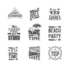 "Set of lettering ""Summer Holidays"", typography design elements."