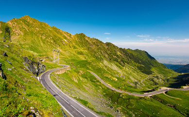 Transfagarasan road serpentine in the valley. beautiful transportation scenery in mountains of Romania. location southern Carpathians
