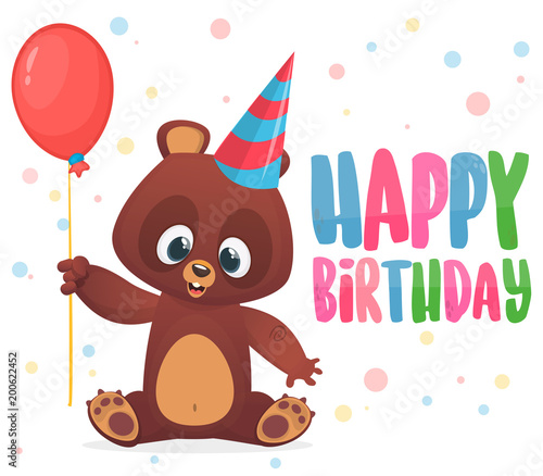 Cartoon Bear Holding A Red Balloon Happy Birthday Greetings Postcard With Typography Title Vector