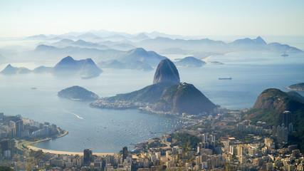 Foto op Plexiglas Rio de Janeiro Views to the Rio harbor and Sugar Loaf Mountain from Corcovado in Rio de Janeiro, Brazil.
