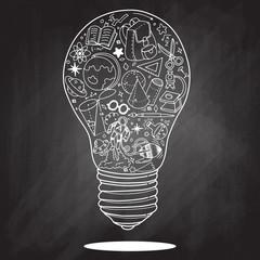 Lightbulb ideas concept doodles icons set. Vector illustration.