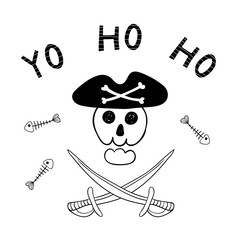 Printed roller blinds Illustrations Hand drawn funny Jolly Roger, scull in pirate hat, cutlasses, fish bones, text Yo ho ho. Isolated objects on white background. Line drawing. Vector illustration. Design concept for children print.