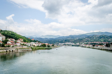 """Panorama town of """"Visegrad"""" during the summer - Bosnia and Herzegovina"""