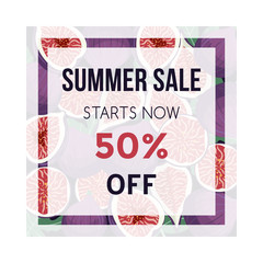Summer sale banner with figs fruit .Design template. Vector illustration