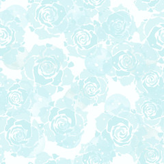 Abstract geometric seamless pattern with watercolor blue circles, dots and roses. Modern abstract design for paper, cover, fabric, interior decor and other users.