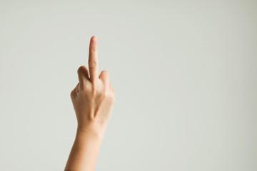Hand sign showing middle finger.