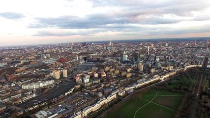 Fototapeta Aerial View London Cityscape with Dusk Sunset Sky around Regent's Park, Camden Town Central City Town Neighborhood Skyline in England, UK