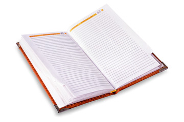 Open pocket-book, diary, note book on white background, isolated.