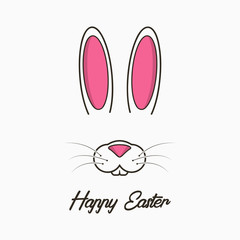 Happy Easter greeting card with bunny. Celebration banner, poster with easter bunny face and ears. Vector illustration.