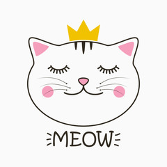 Cute cat with crown and lettering Meow. Kitty face print for child clothes, t-shirt and design card, poster. Vector illustration.