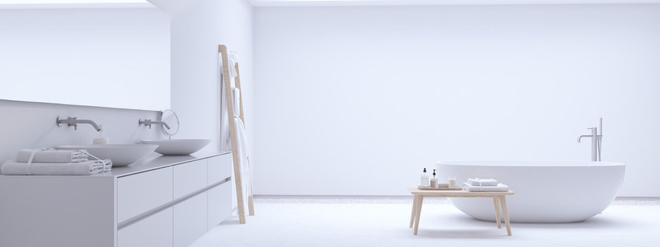 new modern zen bathroom with white wall. 3d rendering